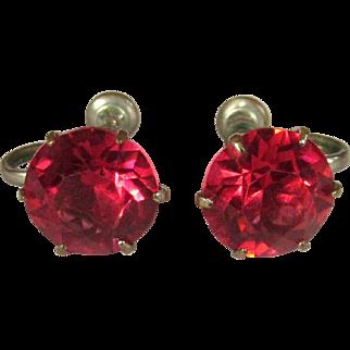 Vintage Crystal Earrings, Art Deco Pink Solitaires