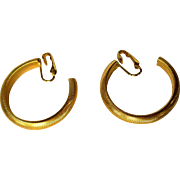 Vintage Large Hoop Earrings, Gold Toned Clip Ons