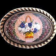 Victorian Crystal Brooch, Floral Basket, Rose Wreath, GF