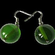 Bakelite Earrings, Lime Juice Vintage Beads