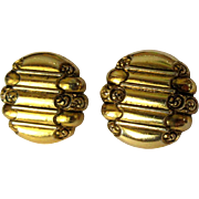Vintage Earrings, Scroll Design, Clip Ons