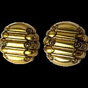 Vintage Earrings, Scroll Design, Clip Ons