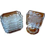 Cigarette Holder & 6 Ashtrays, Vintage Glass