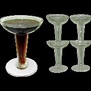 Crystal Champagne Glasses, Hollow Stem Etched Vintage Set of Four