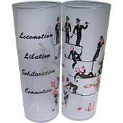 Vintage Cocktail Glasses, Painted Figurals