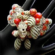 Vintage Bead Bracelet, Three Strands Mid Century