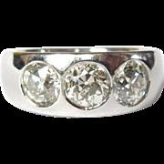 Platinum Diamond Ring, Edwardian Past Present Future, 2ct