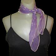 Purple Polka Dot Scarf, Chiffon, Vintage 1950's