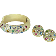 Weiss Rhinestone Bracelet & Earrings, Thermoplastic Clamper, 1940's