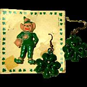 Vintage Leprechaun Pin & Clover Earrings, 1950's Japan
