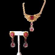Vintage Art Glass Necklace & Earrings, Art Nouveau Revival