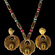 Egyptian Revival Necklace & Earrings, Vintage Art Glass