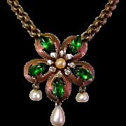 Rhinestone Medallion Necklace, Glass Pearls, Vintage