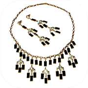 Vintage Rhinestone Necklace & Earrings, Art Deco Revival Festoon Demi