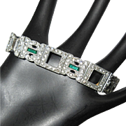 Deco Rhinestone Bracelet, Link With Green & Diamante