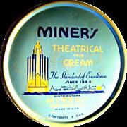 Art Deco Tin, Miner's Theatrical Cold Cream, Vintage 30's