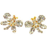 Siman Tu Earrings, Crystal Vintage Designer Haute Couture