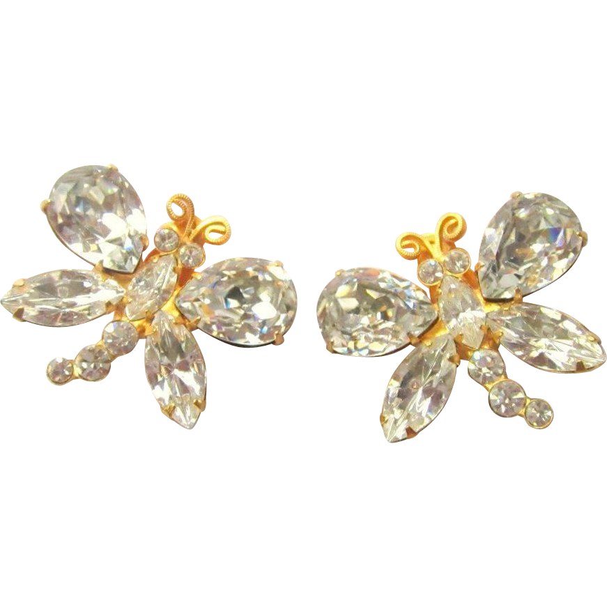Siman tu earrings crystal vintage designer haute couture for Best place to sell gold jewelry in chicago