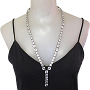 Art Deco Crystal Necklace, Open Back, 27""