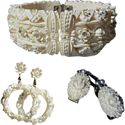Rhinestone Celluloid Set, Bracelet, Earrings & Sweater Guard