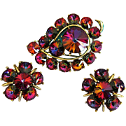 Rhinestone Brooch & Earrings, Vintage Volcano Rivoli