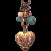 Vintage Heart Locket, Gold Filled & Etched