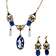 Art Glass Necklace & Earrings, Vintage Sadie Green 1980's