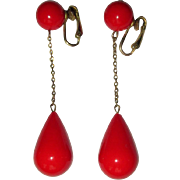 Vintage Dangling Earrings, Orange, Mod 1960's