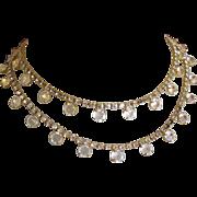 Vintage Crystal Necklace, Rhinestone Chain, 1980's