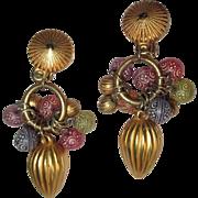 Vintage Hoop Earrings, 80's Beads