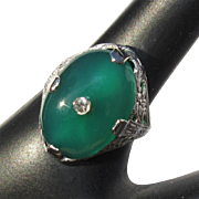 Sterling Filigree Ring, Art Nouveau Vintage, Green Stone