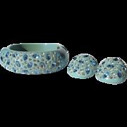 Weiss Rhinestone Bracelet & Earrings, Blue Thermoset 1940's
