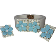 Rhinestone Bracelet & Earrings, Vintage Plastic Clamper