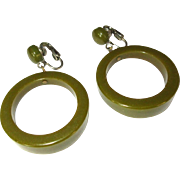 Vintage Bakelite Earrings, Large Hoops, Art Deco
