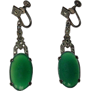 Sterling Chrysoprase Earrings, Marcasites, Vintage ArtDeco