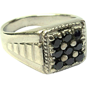 Vintage Sterling Ring, Men's, Black Stones