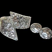 Vintage Lucite Confetti Bracelet & Earrings, Silver Hinged 1950's