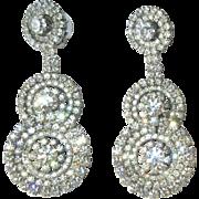 Vintage Rhinestone Earrings, 80's Designer, Thelma Deutsch