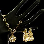 Vintage Crystal Bracelet & Dangling Earrings, 1960's