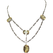 Sterling / Citrine Festoon Necklace, Marcasites, Edwardian