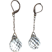 Edwardian Crystal Earrings, Briolette Drops