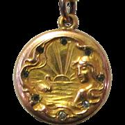 Art Nouveau Locket, Gold Filled, Paste Stones