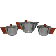 Art Deco Chrome Tea Set, Machine Age, Manning Bowman
