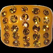 Vintage Lucite Rhinestone Ring, 80's