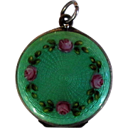 Guilloche Sterling Locket, Vintage Enamel Green Floral