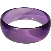 Purple Lucite Bracelet, Transparent Bangle, Vintage 60's