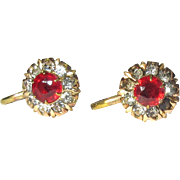 Rhinestone Flowerette Earrings, Gold Filled Vintage