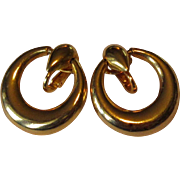 Vintage Hoop Earrings, Gold Toned, 1980's