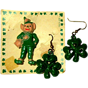 Vintage Leprechaun Pin & Clover Earrings, 1950's Japan