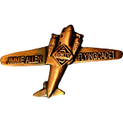 Jimmie Allen Flying Cadet Airplane Pin, 1930's Radio